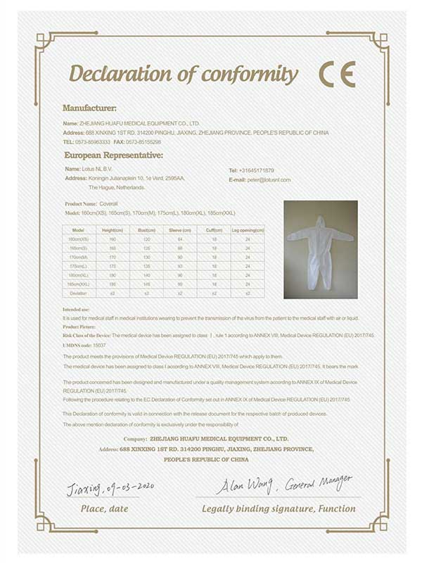 Medical isolation gown CE certificate